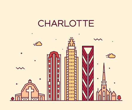Charlotte city skyline, North Carolina, USA. Trendy vector illustration, linear style