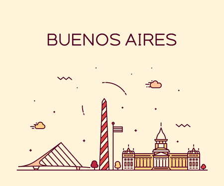 Buenos Aires skyline, Argentina vector linear city Stock Illustratie