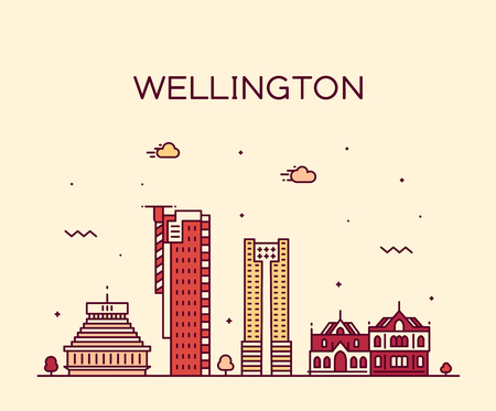 Wellington city skyline, New Zealand. Trendy vector illustration, linear style