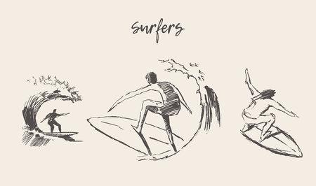 サーファーのスケッチのコレクション、手描きのベクトルイラスト