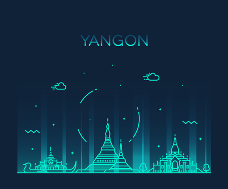 Yangon skyline, Myanmar vector linear style city Illustration
