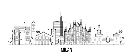 Horizonte de Milán, Italia. Esta ilustración representa la ciudad con sus edificios más notables. El vector es completamente editable, cada objeto es holístico y móvil