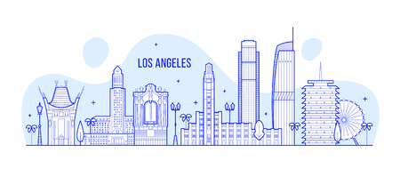 로스 앤젤레스 스카이 라인, 미국. 이 그림은 가장 유명한 건물이있는 도시를 나타냅니다. 벡터는 완전히 편집 가능하고 모든 개체는 전체적이고 움직일 수 있습니다.