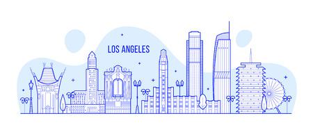 Skyline von Los Angeles, USA. Diese Abbildung zeigt die Stadt mit ihren bemerkenswertesten Gebäuden. Der Vektor kann vollständig bearbeitet werden, jedes Objekt ist ganzheitlich und beweglich