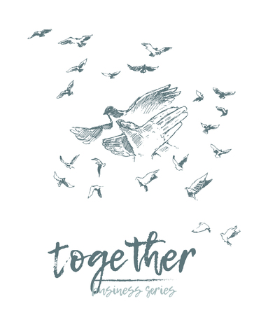 Business concept, people hold hands in a spirit of togetherness, vector illustration, hand drawn, sketch Stock Illustratie