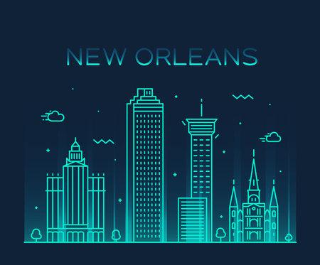 New Orleans USA skyline vector line art style Stock Vector - 108720392