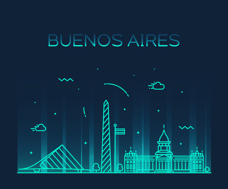 Buenos Aires skyline, Argentina vector linear city Illustration