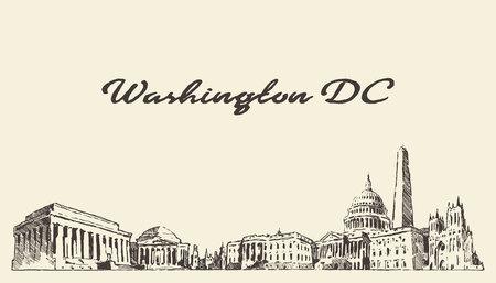 Washington DC skyline, USA, vintage engraved illustration, hand drawn  イラスト・ベクター素材
