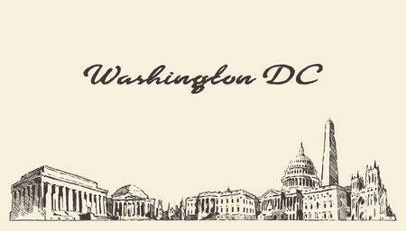 Washington DC skyline, USA, vintage engraved illustration, hand drawn 矢量图像