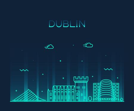 Dublin skyline, Ireland. Trendy vector illustration linear style Vettoriali