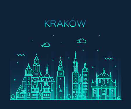 Krakow skyline, Poland. Trendy vector linear city 向量圖像