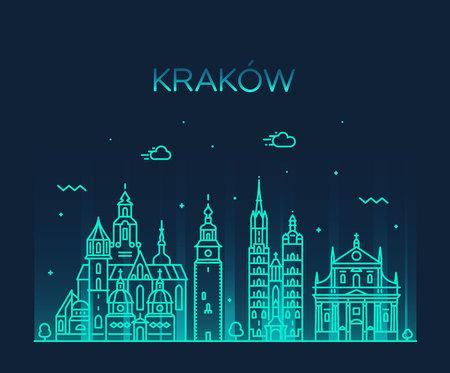 Krakow skyline, Poland. Trendy vector linear city Illustration