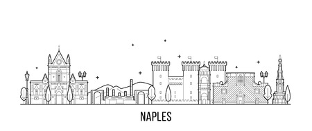 Naples skyline Italy city buildings vector linear Stock Photo