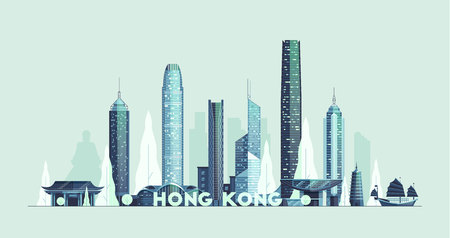 Hong Kong skyline, Republic of China vector city