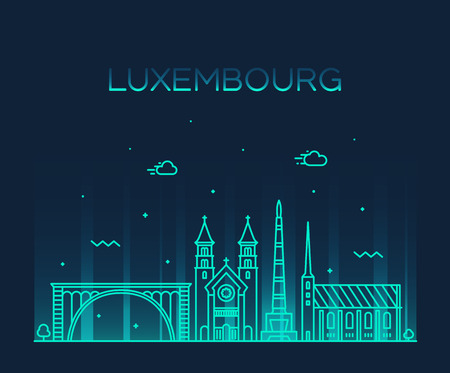Luxembourg skyline vector linear style city trendy