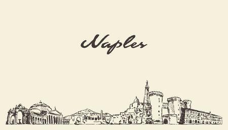 Orizzonte di Napoli, schizzo disegnato della città di vettore dell'Italia