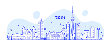 Toronto skyline, Canada. This illustration represents the city with its most notable buildings. Vector is fully editable, every object is holistic and movable