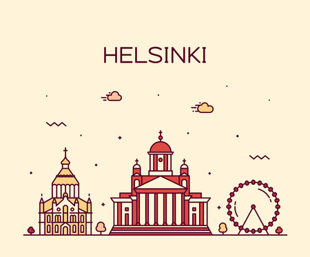 Helsinki skyline, Finland. This illustration represents the city with its most notable buildings. Vector is fully editable, every object is holistic and movable