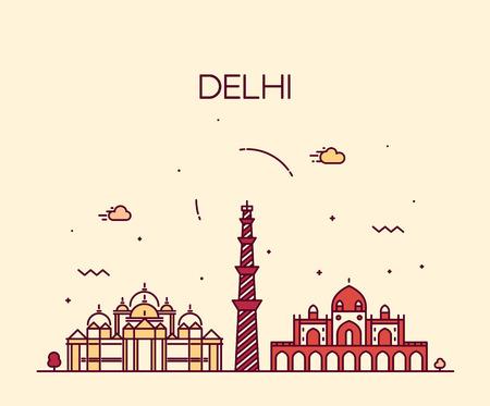 Delhi skyline, India. Trendy vector illustration linear style