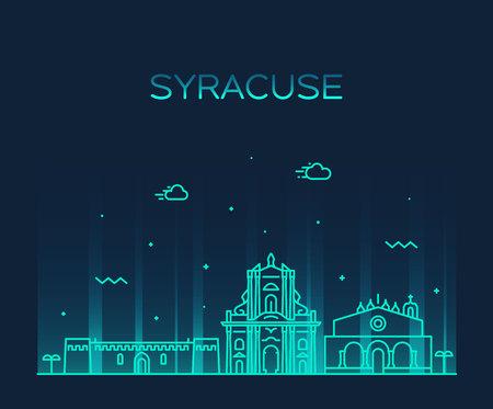 Syracuse skyline Sicily Italy vector linear style 矢量图像