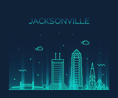 Jacksonville skyline, Florida USA vector line city 向量圖像