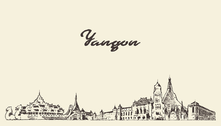 Yangon skyline, Myanmar vector city drawn sketch Иллюстрация