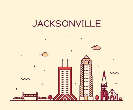 Jacksonville skyline, Florida USA vector line city  イラスト・ベクター素材