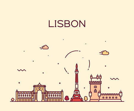 Lisbon city skyline, Portugal vector linear style
