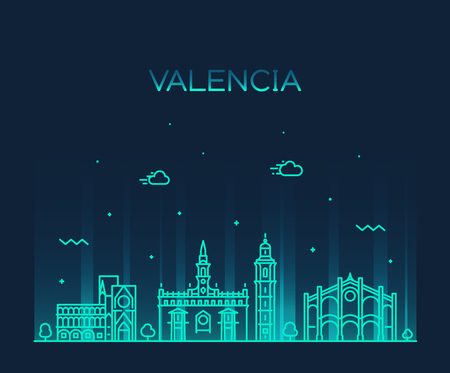 Valencia skyline Spain vector city linear style Иллюстрация
