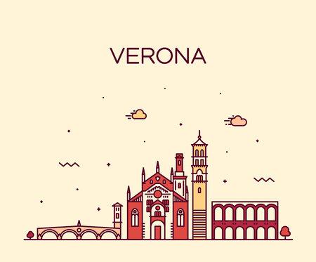 Verona skyline Italy vector linear style city Çizim