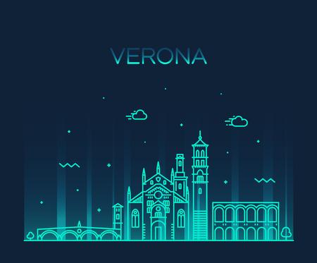 Verona skyline Italy vector linear style city Illustration