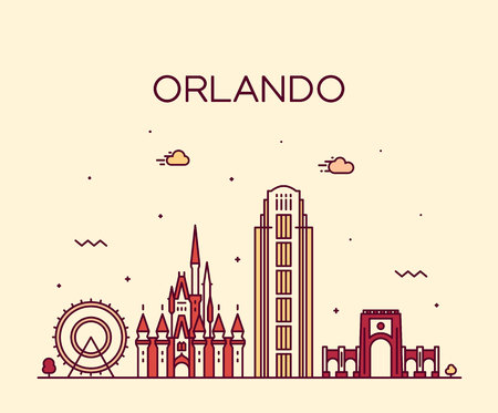 Orlando skyline Florida USA vector linear style