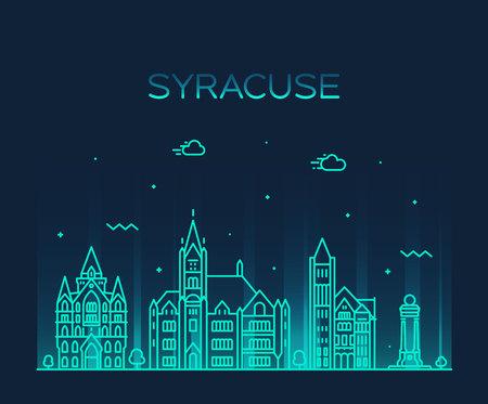 Syracuse skyline, New York, USA. Trendy vector illustration linear style