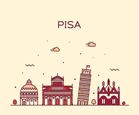 Pisa skyline, Italy. Trendy vector illustration linear style 免版税图像 - 111434136