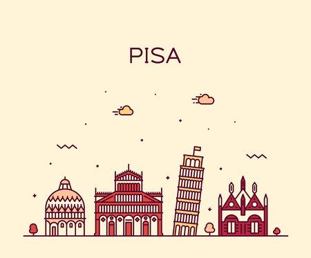 Pisa skyline, Italy. Trendy vector illustration linear style