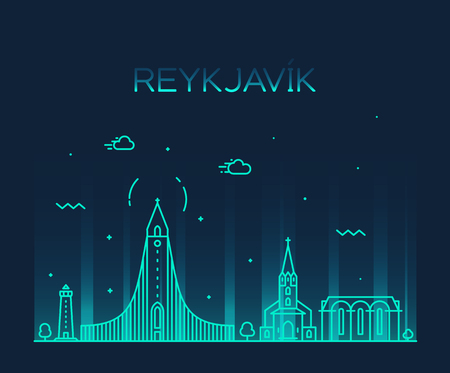 Reykjavik city skyline, Iceland. Trendy vector illustration, linear style