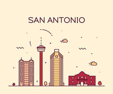 San Antonio city skyline, Texas, USA. Trendy vector illustration, linear style