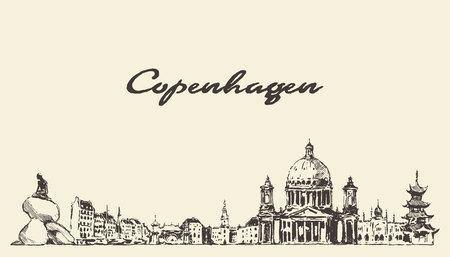 Copenhagen skyline Denmark city buildings a vector