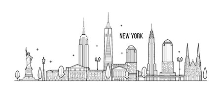 New York skyline, USA. This vector illustration represents the city with its most notable buildings. Vector is fully editable, every object is holistic and movable