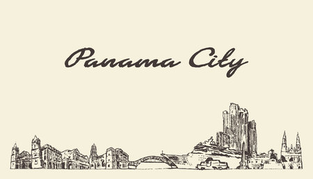 Panama big city skyline Panama vintage hand drawn