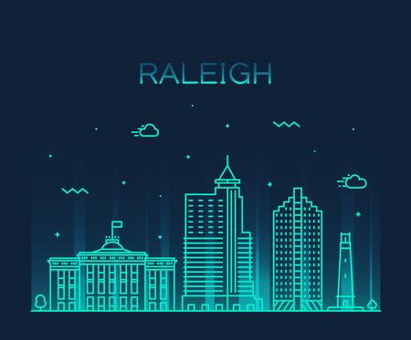 Raleigh skyline, North Carolina, USA. Trendy vector illustration linear style