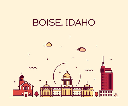 Boise, Idaho skyline, USA. Trendy vector illustration linear style