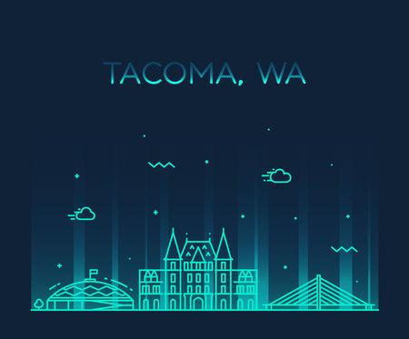 Tacoma skyline, Washington, USA. Trendy vector illustration linear style