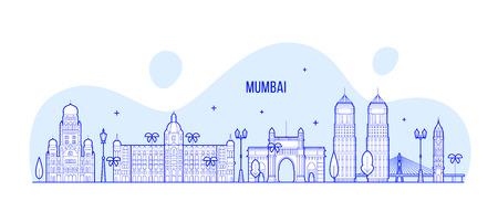 Mumbai skyline Maharashtra India city vector line