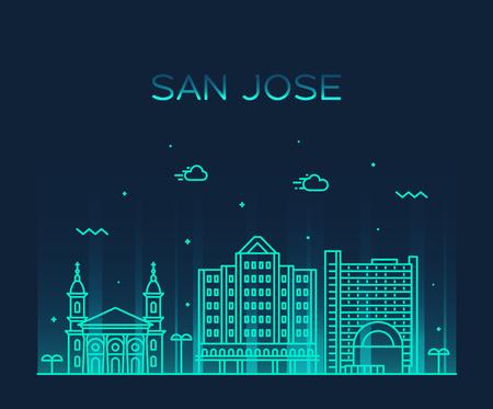 San Jose skyline, Northern California, USA. Trendy vector illustration, linear style Vecteurs