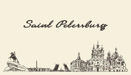 Saint Petersburg skyline Russia sketch hand drawn 矢量图像