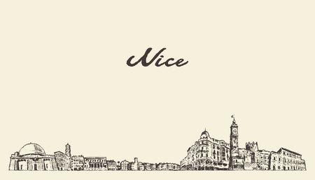 Bonito horizonte, Francia, vintage ilustración grabada dibujada a mano