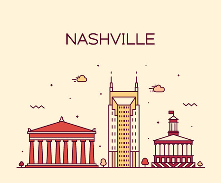 Nashville skyline, Tennessee, USA. Trendy vector illustration linear style
