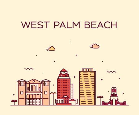 West Palm Beach skyline Florida USA vector linear Illustration