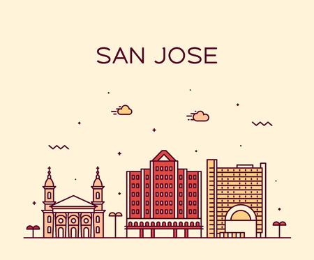 Skyline von San Jose, Nordkalifornien, USA. Trendige Vektorillustration, linearer Stil